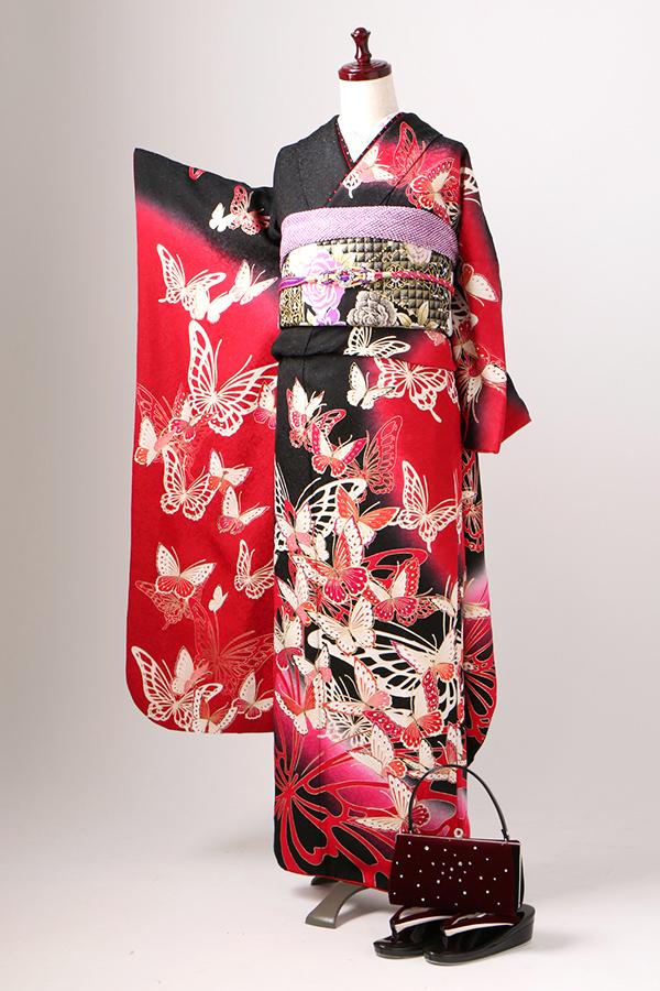 飾磨店:成人式振袖黒赤-モ-C2698