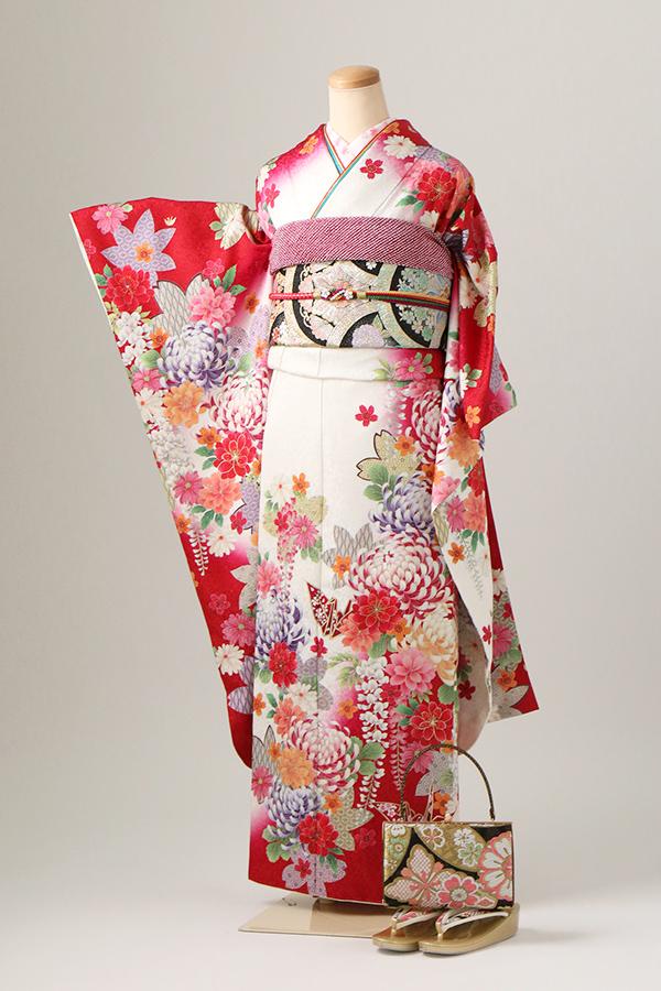飾磨店:成人式振袖白赤-古モ-C2860