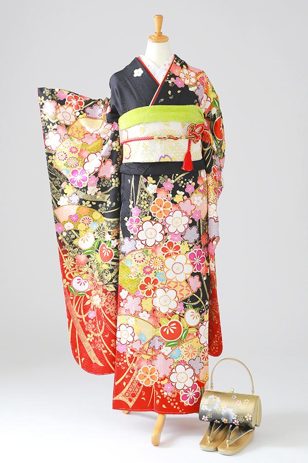 アンジュエール姫路店:成人式振袖黒-古-C2970
