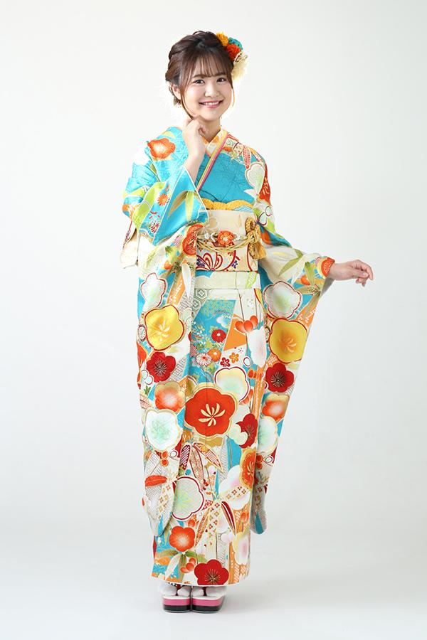 別府店:成人式振袖青-古レ-C2949