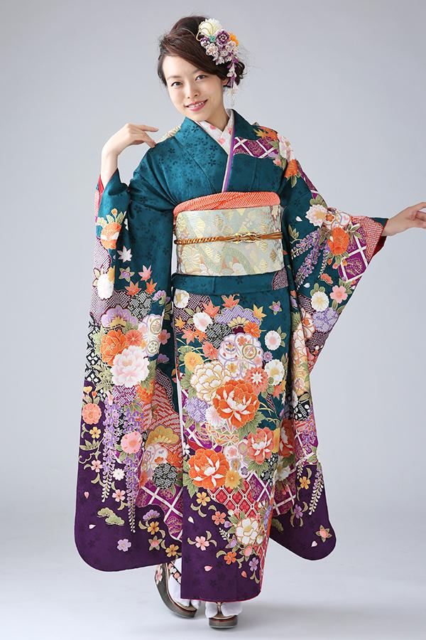 西神戸店:成人式振袖緑-古-C448