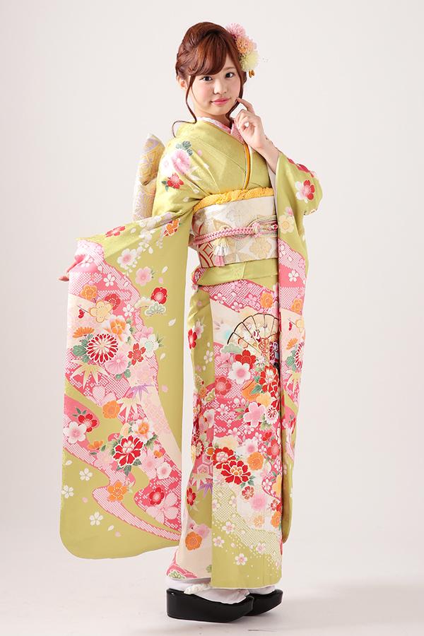 西神戸店:成人式振袖緑-古ロ-C2049
