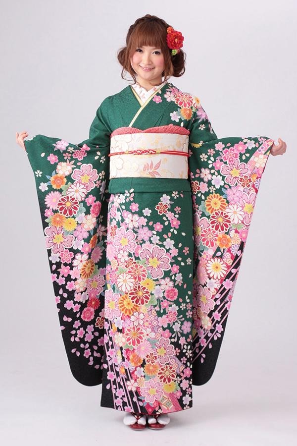 西神戸店:成人式振袖緑-古-C590