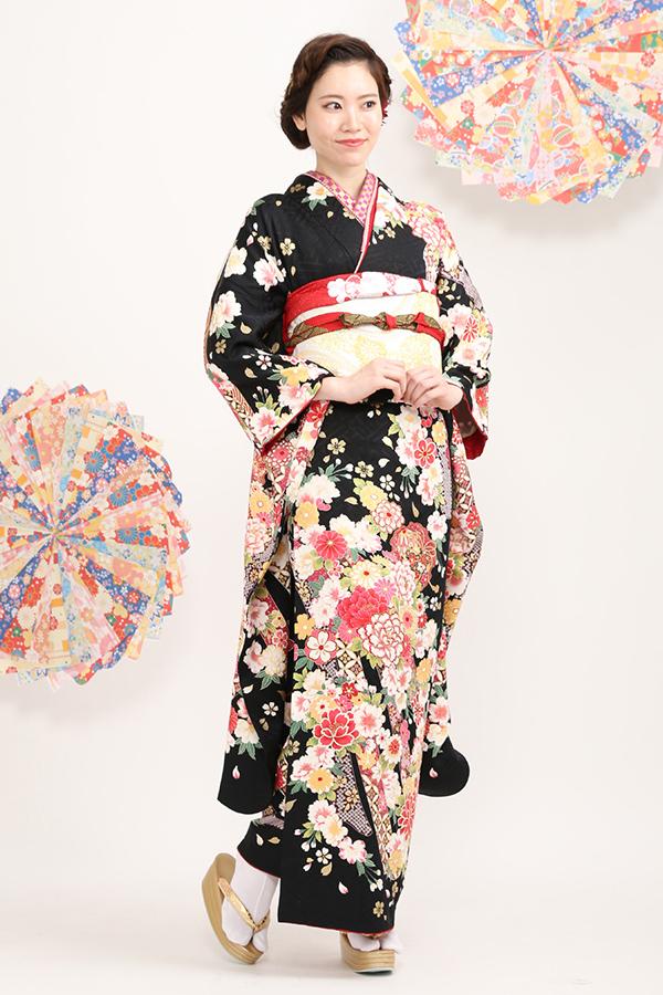 別府店:成人式振袖黒-古-C1794