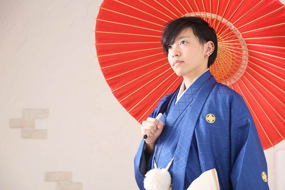 成人式男性袴の記念写真撮影04