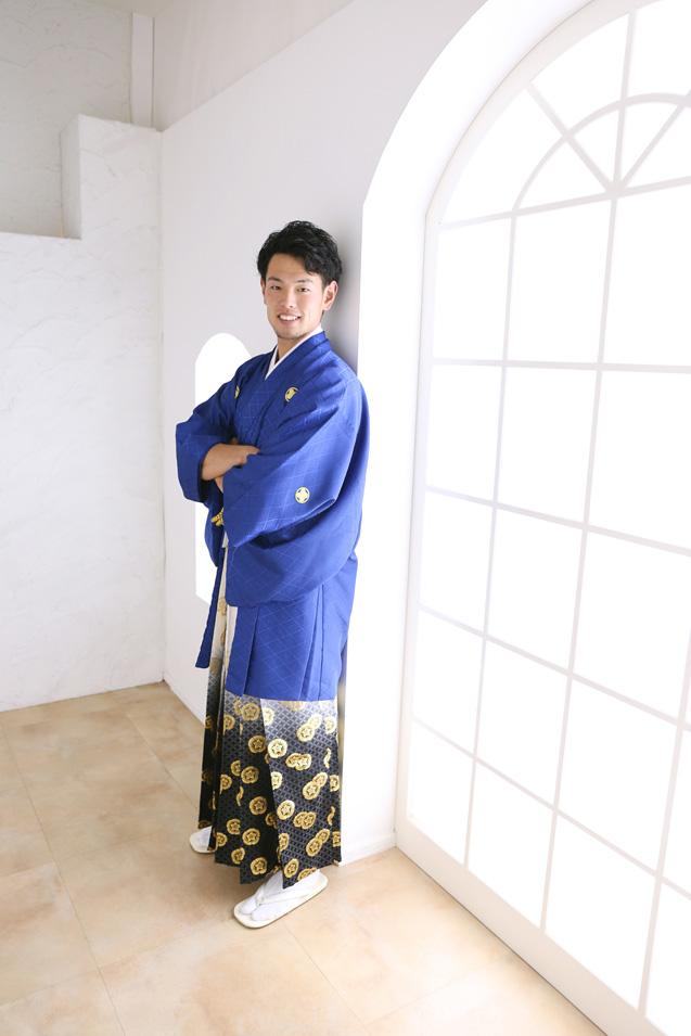 成人式男性袴の記念写真撮影08