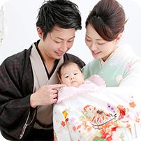 お宮参りの安心ポイント3:パパママお着物お支度プラン